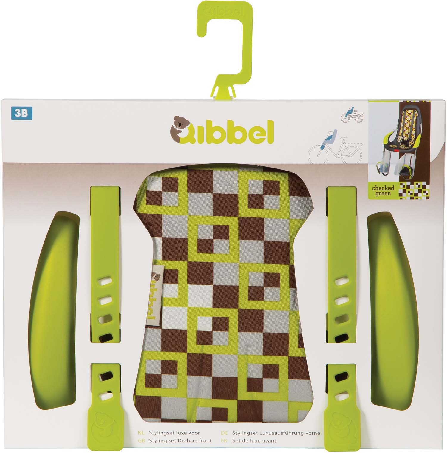 Qibbel Stylingset Luxe Checker Groen t.b.v. Voorzitje