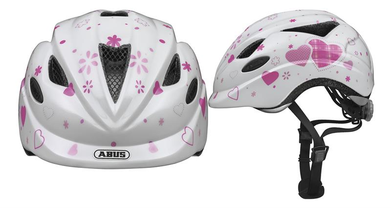 Abus Kinderhelm Anuky Hearts Wit/Roze Maat S