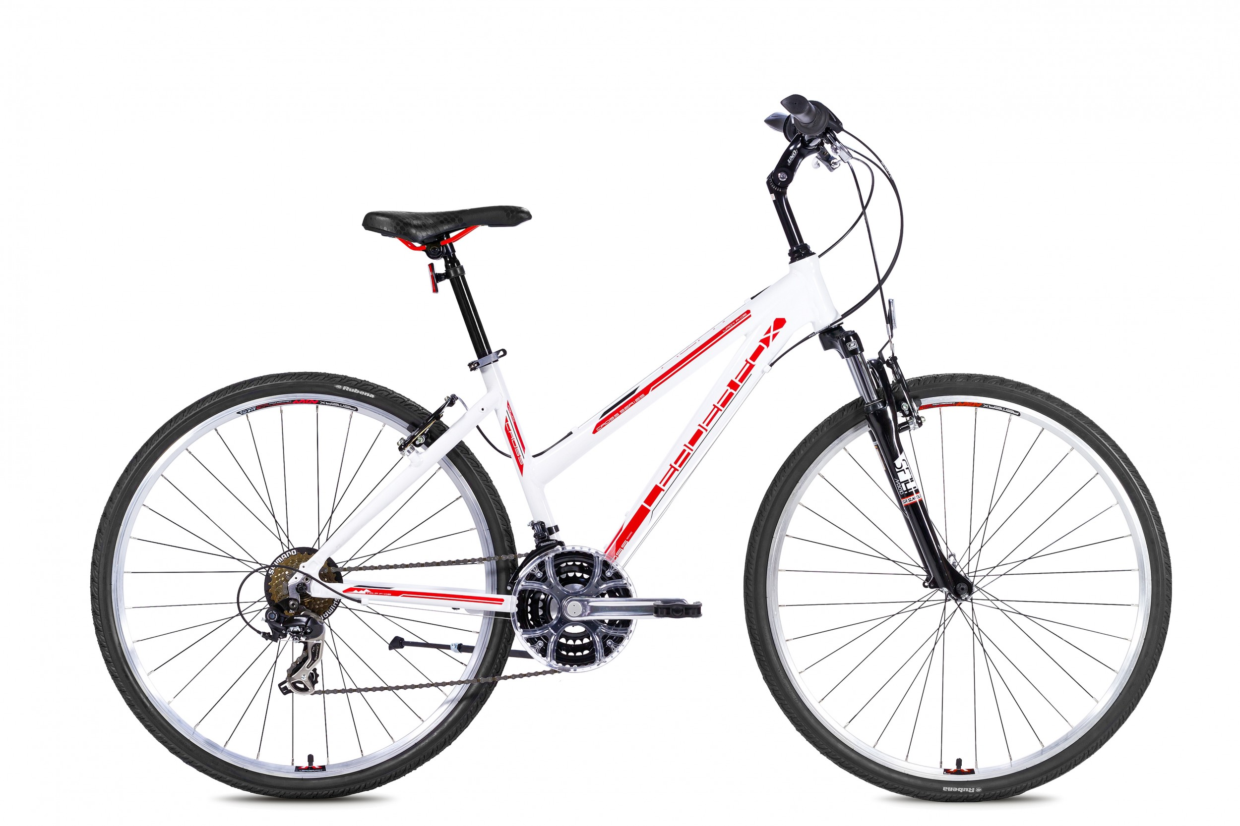 LeaderFox Away Fitnessbike Dames 48cm 21V - Wit/Rood