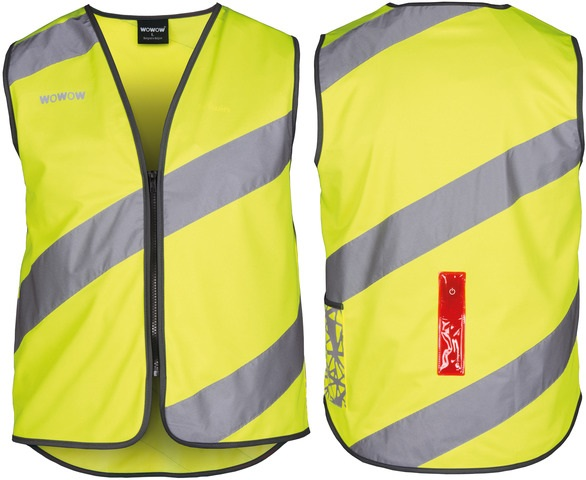 WOWOW Roadie Reflecterend Sport Vest + 5 LED Geel - L