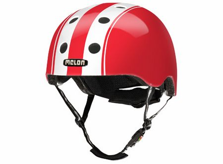 Melon Helm Double Wit/Rood Maat XL/XXL (58-63cm)