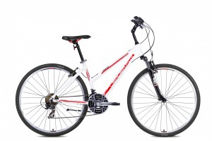 LeaderFox Away Fitnessbike Dames 43cm 21V - Wit/Rood