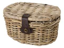 FastRider Bicycle Basket Junior with Lid Oval - Rattan 16L