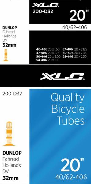 Xlc Bicycle Inner Tube 20 X 1.50 Dunlop Valve 32Mm