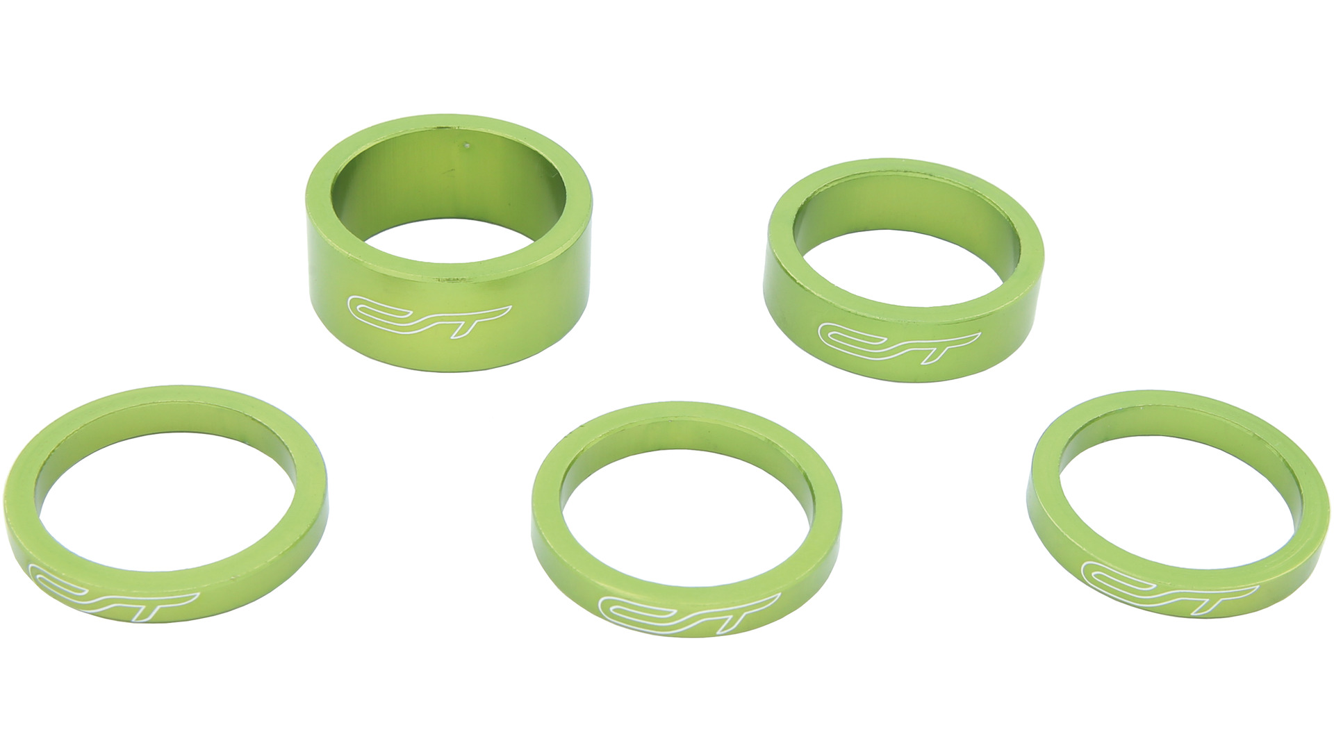Contec Spacer Set 1 1/8 Inch 3x5/1x10/1x15mm Alu - Groen