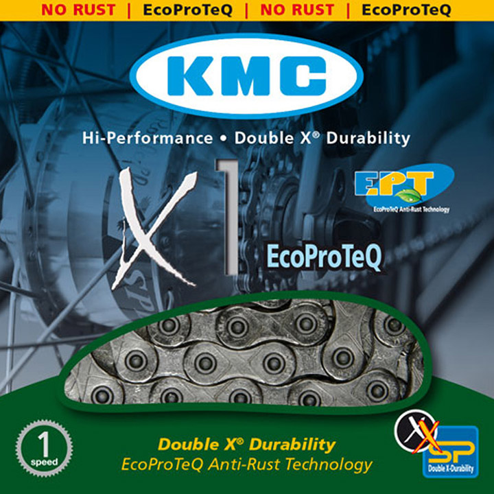 KMC Fietsketting X1 EPT110 1/2 x 3/32 1V EcoProteQ Zilver