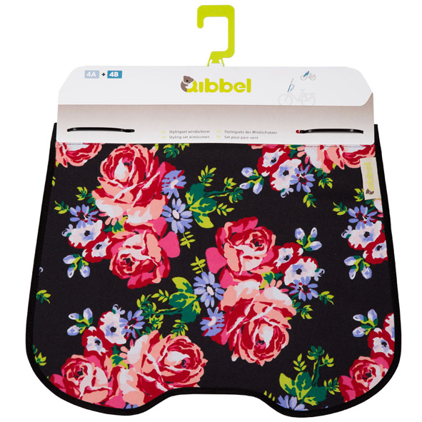 Qibbel Windschermflap Blossom Roses Black
