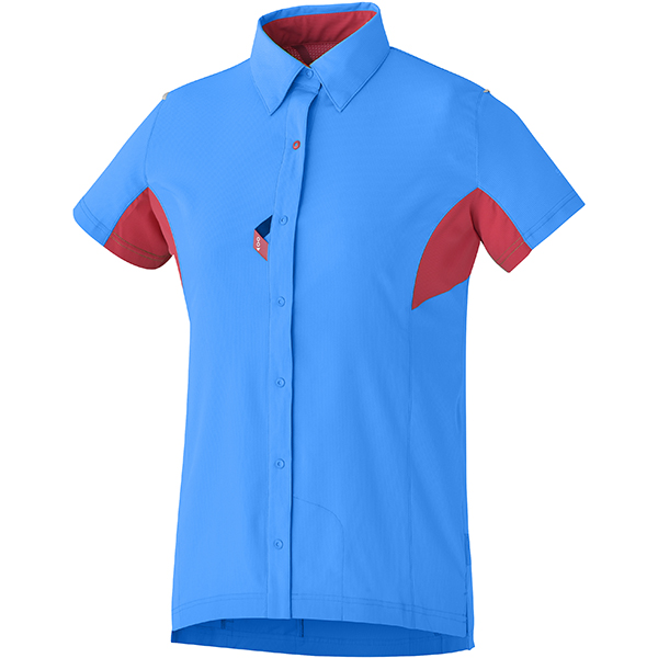Shimano Dames Button Up Shirt Blauw/Rood - Maat M