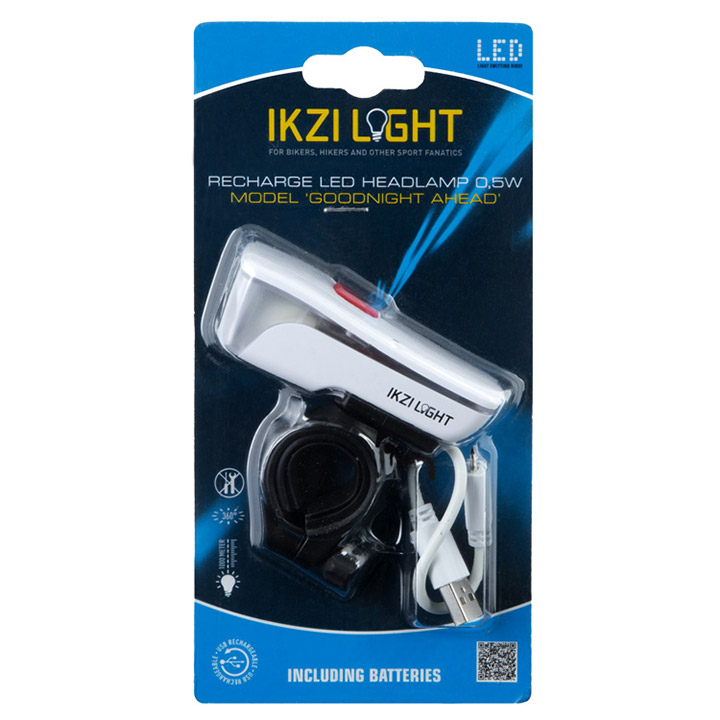 Ikzi Koplamp Goodnight Ahead USB-Oplaadbaar - Wit