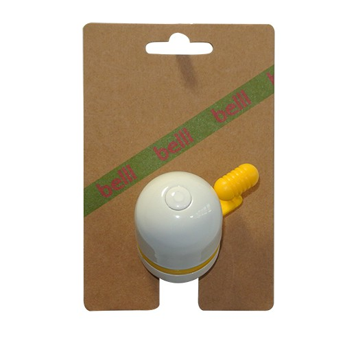 Belll Capsule Bicycle Bell Plastic - White/Yellow | Bells