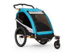 Burley DLite X Bicycle Trailer 2-Children - Black/Aqua Blu