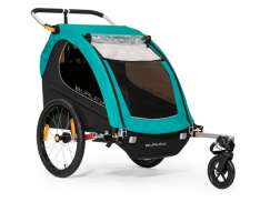 Burley Encore X Bicycle Trailer 2-Children - Black/Turquoise