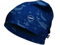 H.A.D. Printed Fleece Beanie Kids Whales Blauw - One Size