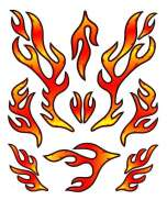 HBS Bicycle Sticker Red Flames - Red/Yellow