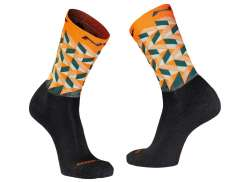 Northwave Core Cycling Socks Wool High Orange/Green M 40-43