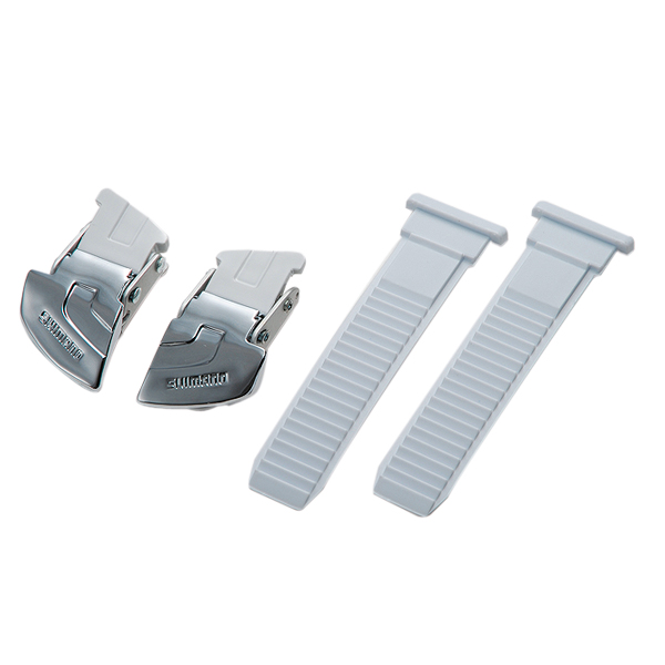 Shimano Buckle/Strap Set Universeel Breed - Wit/Zilver